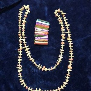 Mother of Pearl Stretch Bracelet And Necklace